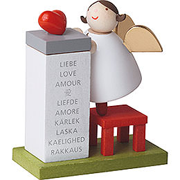 Guardian angel with heart on podium  -  3,5cm / 2inch / 1.4inch