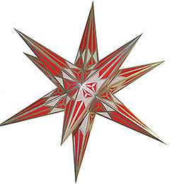 Hartenstein Christmas star  -  white - red with silver  -  68cm / 27inch