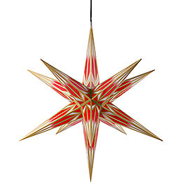 Hasslau Christmas star for outside use red/white with golden pattern  -  75cm / 30inch
