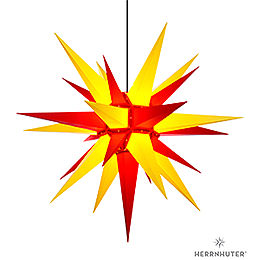 Herrnhuter Moravian star A13 yellow/red plastic  -  130cm/51inch