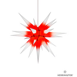 Herrnhuter Moravian star I7 white with red core paper  -  70cm