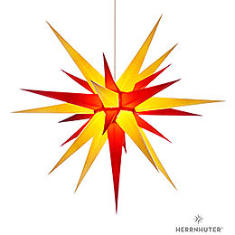 Herrnhuter Moravian star I8 yellow/red paper  -  80cm/31inch