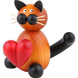 Katze Bommel mit Herz  -  8cm