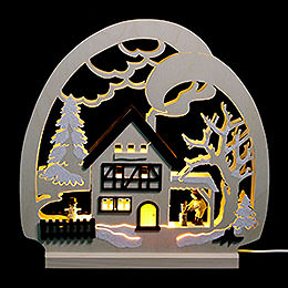 LED Candle Arch  -  Cabin in the Forest  -  30x28.5x4.5cm / 11.81x11.02x1.57 inch