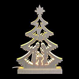 Lichterspitze  -  Mini - Baum Krippenszene, LED  -  23,5 x 15,5 x 4,5cm