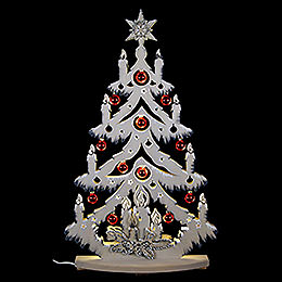 Light Triangle  -  Fir Tree Grey with White Frost with Christmas Ball  -  72x38cm / 28x15 inch