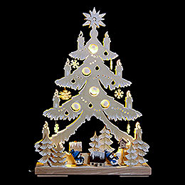 Light triangle snow men with blue hats, natural with white frost  -  32x44cm /12.6x17.3inch