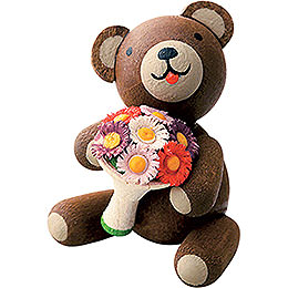 Lucky bear with flower bouquet  -  2,7cm / 1.1inch