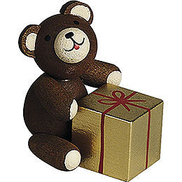 Lucky bear with gift  -  2,7cm / 1.1inch