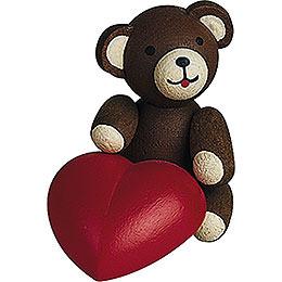 Lucky bear with heart  -  2,7cm / 1.1inch