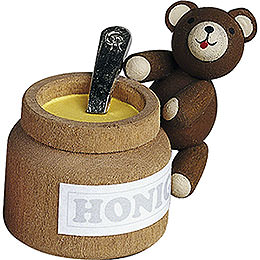 Lucky bear with honey pot  -  4cm / 1.6inch