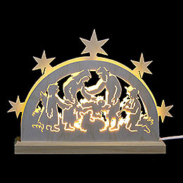Mini LED Schwibbogen  -  Krippenmotiv  -  23 x 15 x 4,5cm