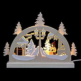 Mini LED Schwibbogen  -  Schneeschieber  -  23x15x4,5cm