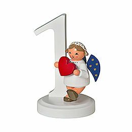 """Number """"1"""" with angel  -  7cm / 2.8inch"""