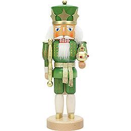 Nussknacker König grün/gold lasiert  -  37,5cm