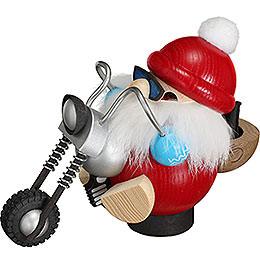 Räuchermännchen Nikolaus auf Motorrad  -  11cm
