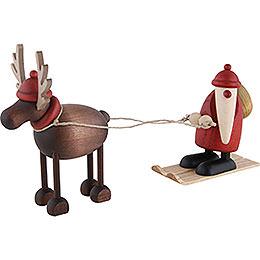 Rentier Rudolf mit Weihnachtsmann auf Ski  -  12cm