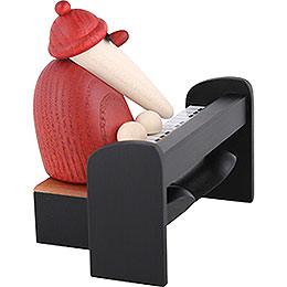Santa Claus Playing a Black Piano  -  9cm / 3.5 inch