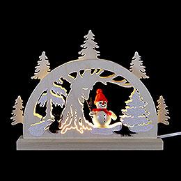 Schwibbogen Schneemann im Wald  -  23x15x4,5cm