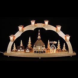 Schwibbogen Seiffener Kirche mit Pyramide  -  40x80cm
