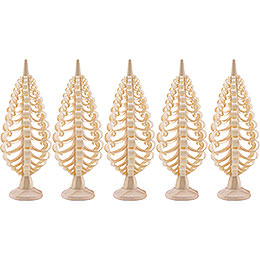 Seiffen Wood chip tree set of 5  -  5cm / 2inch