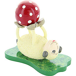 "Sheep ""Rolli"", lying, with Ball  -  6,5cm / 2.5inch"