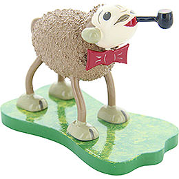 """Sheep """"Smoky"""", with Bow Tie and Pipe  -  5cm / 2 inch"""