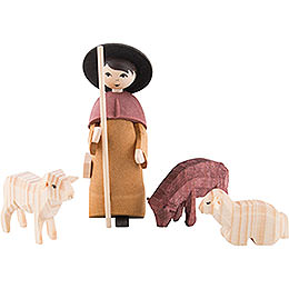 Shepherd with three sheep, glazed  -  7cm / 2.8inch