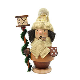 Smoker Child with lantern  -  natural  -  13cm / 5 inch