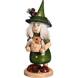 Smoker  -  Lady Gnome with Cooking Pot, Green  -  25cm / 10 inch