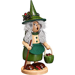 Smoker Lady Gnome with Mushroom Bucket, green  -  25cm / 10inch