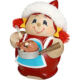 Smoker Mrs. Santa with Goose  -  12cm / 5 inch