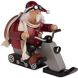 Smoker Santa on snowmobile  -  17cm / 7 inch