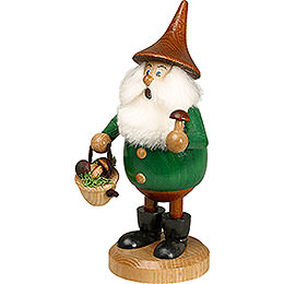 Smoker Timber - Gnome Mushroom Foray green  -  Hat brown  -  15cm / 6 inches
