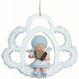 Snowflake with Accordion  -  7x7x4cm / 2.8x2.8x1.5 inch