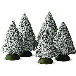 Spruce tree with snow, set of five  -  8cm / 3.1inch