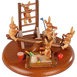 Theme platform for electr. Music Box  -  Bunny playground with moveable seesaw  -  10cm / 4 inch