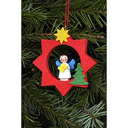 Tree Ornament  -  Angel in Red Star  -  6,0x6,0cm / 2x2 inch