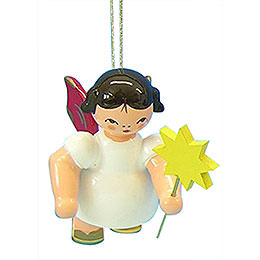 Tree Ornament  -  Angel with Star  -  Red Wings  -  Floating  -  6cm / 2,3 inch