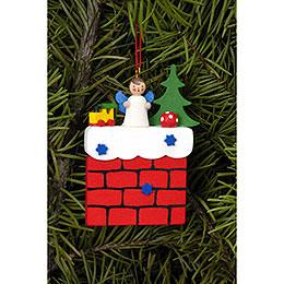 Tree Ornament  -  Chimney with Angel  -  5,7x7,3cm / 2.2x2.9 inch