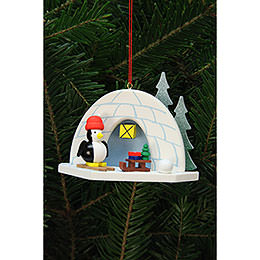 Tree Ornament  -  Igloo with Penguin  -  9,2x7,0cm / 4x3 inch