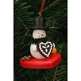 Tree Ornaments Snowman on Heart  -  5,1x5,6cm / 2x2 inch