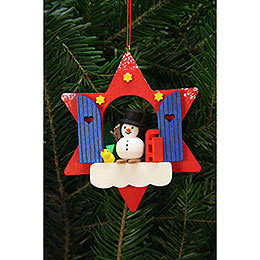 Tree Ornaments Star Window with Snowman  -  9,5x9,5cm / 4x4 inch