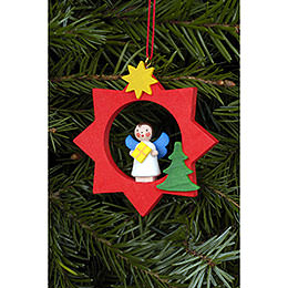 Tree ornament Angel in red Star  -  6,0 x 6,0cm / 2 x 2 inch