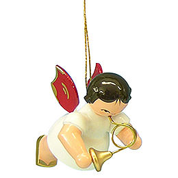 Tree ornament Angel with French horn  -  Red Wings  -  floating  -  5,5cm / 2,1 inch