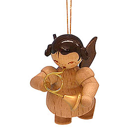Tree ornament Angel with French horn  -  natural colors  -  floating  -  5,5cm / 2,1 inch