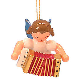 Tree ornament Angel with accordion  -  Blue Wings  -  floating  -  5,5cm / 2,1 inch