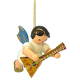 Tree ornament Angel with balalaika  -  Blue Wings  -  floating  -  5,5cm / 2,1 inch