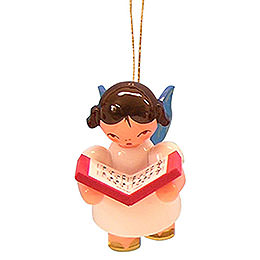 Tree ornament Angel with book  -  Blue Wings  -  floating  -  5,5cm / 2,1 inch