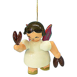 Tree ornament Angel with castanet  -  Red Wings  -  floating  -  5,5cm / 2,1 inch